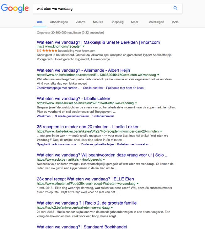 screenshot zoekresultaten wat eten we vandaag